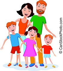 Cute cartoon family in colorful stylish clothes