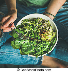 Breakfast with spinach, arugula, avocado, seeds, sprouts....