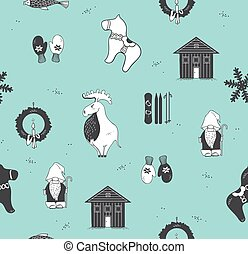 Seamless pattern with attributes of the Scandinavian countries
