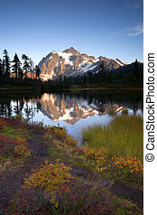 Mt Shuksan Reflection Picture Lake North Cascade Mountains -...