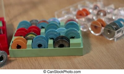 Boxes with tailor bobbins - thread bobbins for sewing...