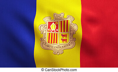 Andorra Flag - Andorra flag with fabric texture. 3D...