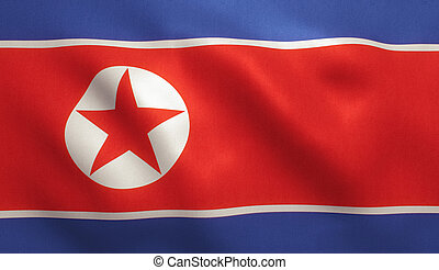 North Korea Flag - North Korean flag with fabric texture. 3D...
