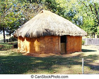 Daub and Wattle Indian House - A daub and wattle house like...