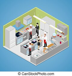 Restaurant Kitchen Interior. Chef Cooking Food. Isometric...