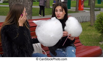 girlfriend sit on a bench and eat cotton candy in the Park -...