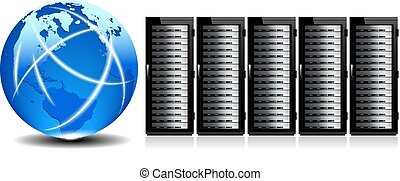 World Wide Web with Servers - Row of Network Servers with...