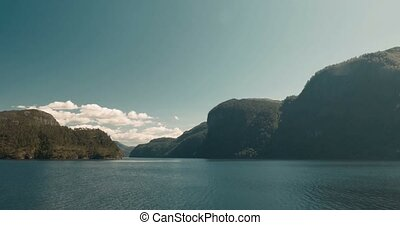 Idyllic View On A Norwegian Fjord - Cinematic Style - Pan