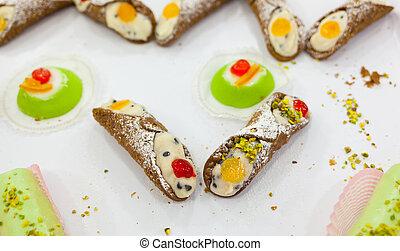 Traditional Sicilian Pastry, Cannoli Siciliani. -...