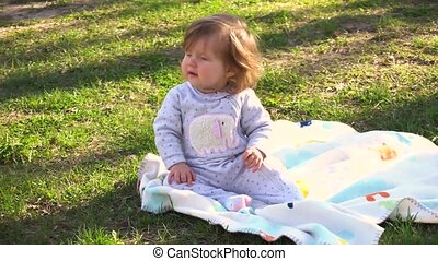Adorable little baby girl in the park - Beauty little baby...