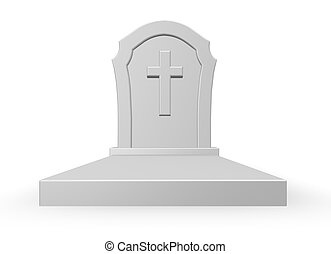 tomb stone - gravestone with christian cross on white...