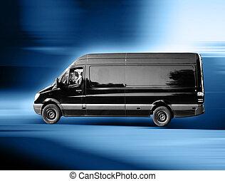 furgoneta, negro