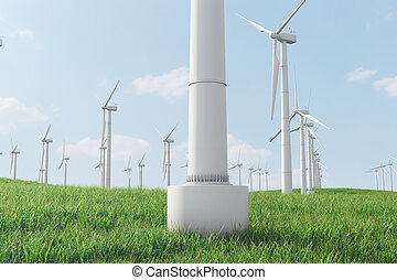 3d illustration, turbine on the grass. Concept alternative electricity source. Eco energy, clean Energy