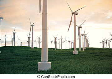 3d illustration, wind turbine with sunset sky. Energy and...