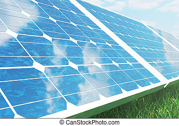 3D illustration solar panels on sky background. Alternative clean energy of the sun. Power, ecology, technology, electricity.