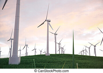 3d illustration, turbine on the grass with sunset sky background. Concept alternative electricity source. Eco energy, clean Energy