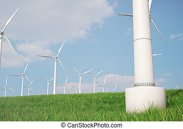 3d illustration, turbine on the grass. Concept alternative...