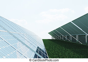 3D illustration solar panels on sky background. Alternative...