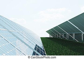 3D illustration solar panels on sky background. Alternative...