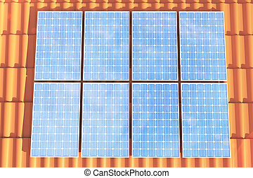 3D illustration solar panels on a red roff, power generation technology. Alternative energy. Solar battery panel modules with scenic sunset with blue sky with sun light.