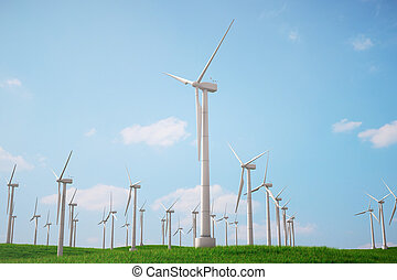 3d illustration, turbine on the grass with blue sky. Concept alternative electricity source. Eco energy, clean Energy