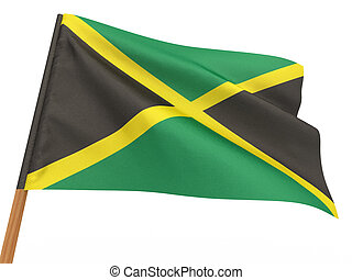 flag fluttering in the wind. Jamaica