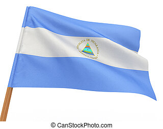 flag fluttering in the wind Nicaragua 3d