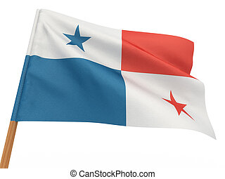 flag fluttering in the wind. Panama