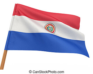 flag fluttering in the wind. Paraguay
