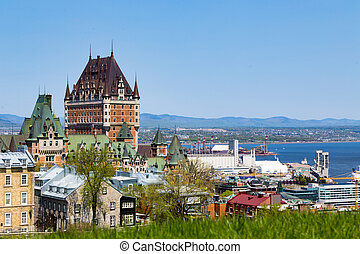Old Quebec City on the St Lawrence River - City scape of Old...