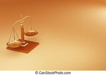 Scale Symbol of justice - Scale on yellow background Symbol...