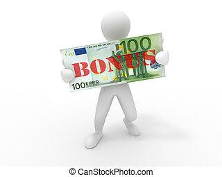 Men with euro. Bonus. 3d