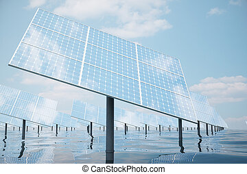 3D illustration of big solar panels on sea, ocean or river. Reflection of the clouds on the photovoltaic cells. Alternative clean energy of the sun. Power, ecology, technology, electricity.
