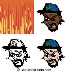 Angry Avatar Man - Three avatar versions of an angry man...