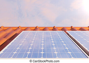 3D illustration solar panels on a red roff, power generation...
