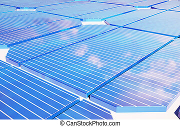3D illustration Solar energy concept. Sunset sky reflection on photovoltaic panel. Power, ecology, technology, electricity.