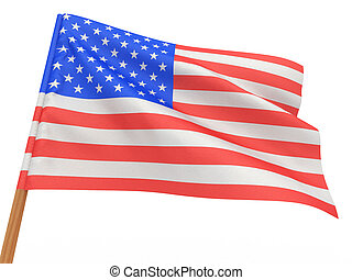 flag fluttering in the wind. USA. 3d