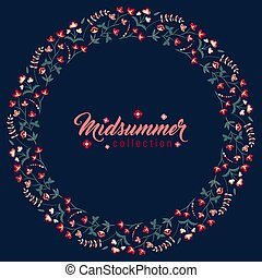Midsummer floral frame, Jacobean flowers wreath - Midsummer...