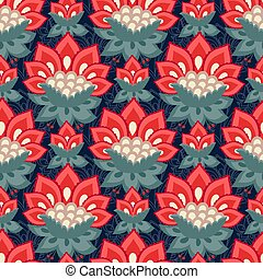 Floral seamless pattern, Jacobean style flowers. Colorful...