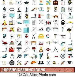 100 engineering icons set, flat style - 100 engineering...