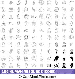 100 human resource icons set, outline style - 100 human...
