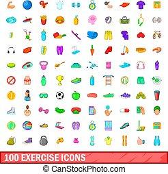 100 exercise icons set, cartoon style