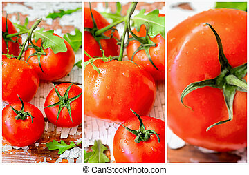 Bright colorful collage of red ripe delicious organic...