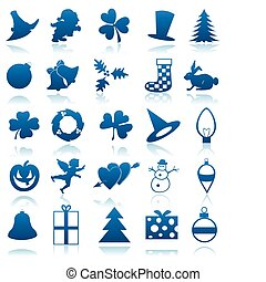 Icons on a theme of holidays of dark blue colour. A vector illustration
