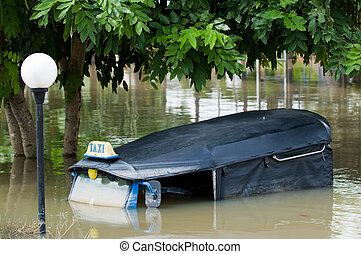 Drowned tuk-tuk taxi in Thailand - Tuk-tuk taxi submerged in...
