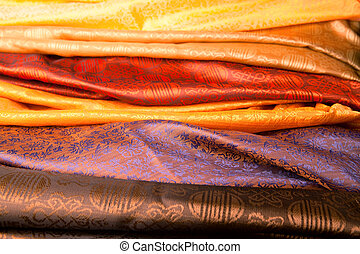 Indian fabric - Silk fabric from India in a marketplace