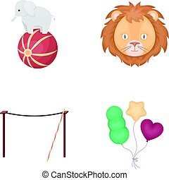 Elephant on the ball, circus lion, crossbeam, balls.Circus set collection icons in cartoon style vector symbol stock illustration web.