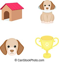 Dog house, protective collar, dog muzzle, cup. Dog set collection icons in cartoon style vector symbol stock illustration web.
