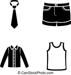 Shirt with long sleeves, shorts, T-shirt, tie.Clothing set collection icons in black style vector symbol stock illustration web.