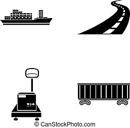 Cargo ship, railway car, scales with box, road. Logistic,set...